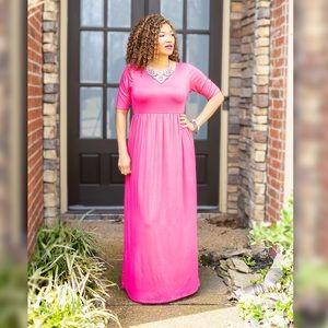 NWOT Pink Short Sleeve Maxi Dress Size L